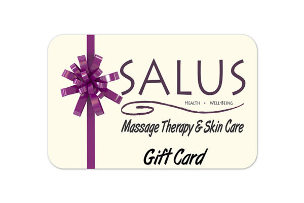 One of Salus' massage gift cards. A massage gift card is one of the many products you can shop for.